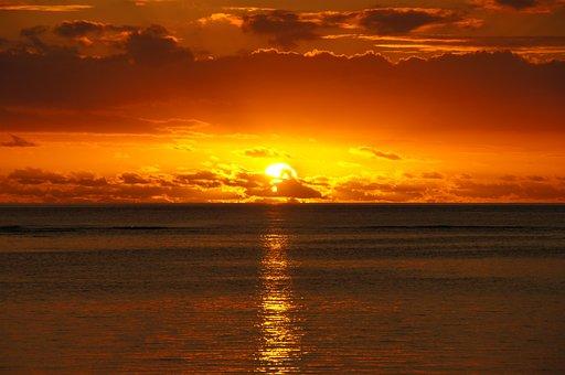 Sunset, Mauritius, Beach, Sundown, Setting Of The Sun