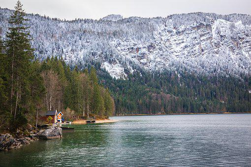 Lake, Snow Line, Mountains, Forest, Landscape, Snow