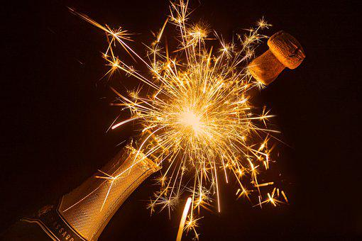 Bottle Of Sparkling Wine, Sparkler, Champagne Cork