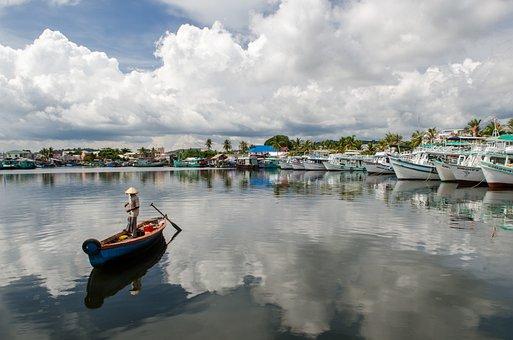 Fisherman, Boat, Water, River, Blue, Summer, Landscape