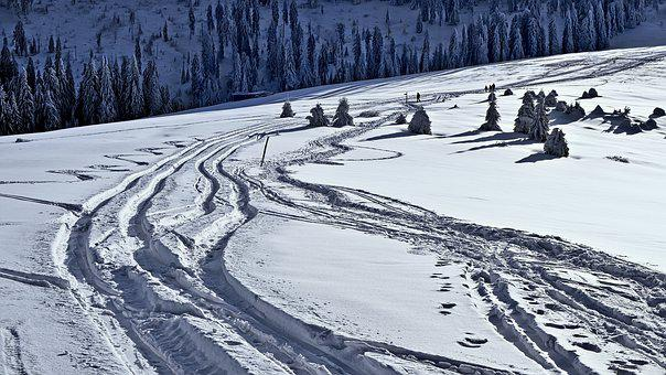 Winter, Way, Traces, Track, Mountains, Crossroads