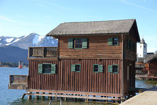 Boat House, Lake, Winter, Nature, Water, Blue