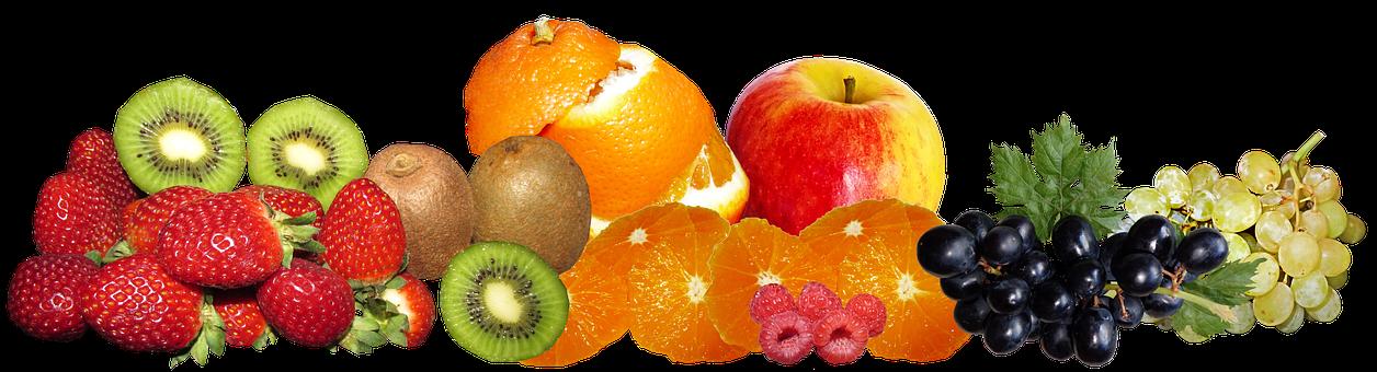Fruit, Berries, Kiwi Fruit, Apple, Grapes, Orange