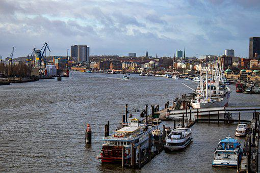 Port, Hamburg, Elbe, Ship, Water, Architecture