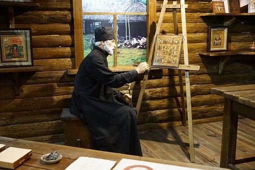Man, Museum, Exhibit, Russia, Men, Art, Icons, Person