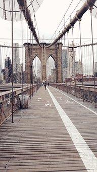 New York, Nyc, Brooklyn Bridge, Brooklyn, Usa