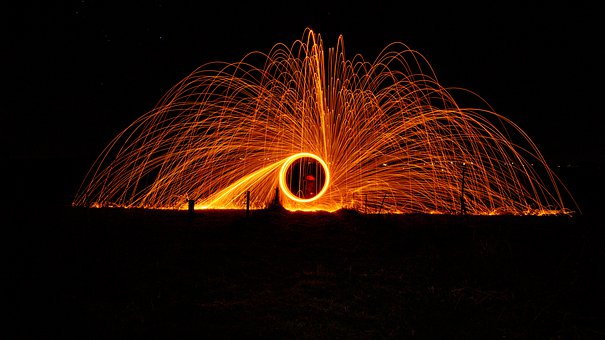 Steel Wool, Circle, Fireworks, Burning, Spin