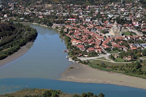 Georgia, Mtskheta, Jvari, Aragva, Kura, River, Travel