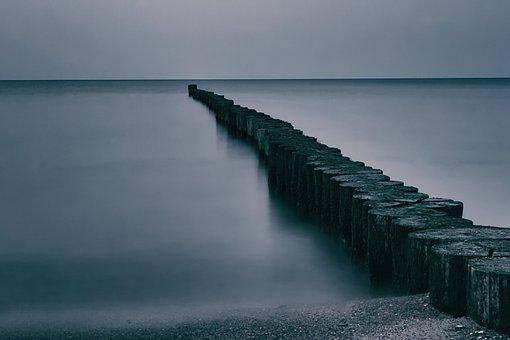 Baltic Sea, Groynes, Long Exposure, Abendstimmung