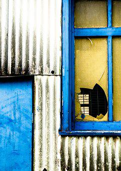 Broken Glass, Colorful, House, Blue, Yellow, Artistic