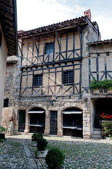 Studs, House, Architecture, Facade, Attic, France, Wood