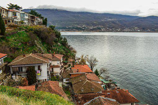 Houses, Town, Landscape, Lake, Architecture, Ohrid