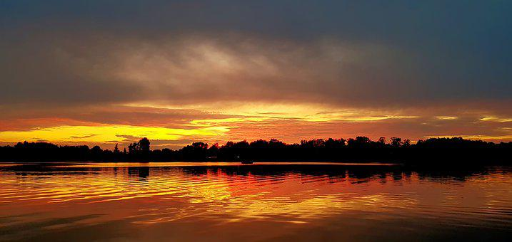 Sunset, Lake, Sky, Landscape, Water, Nature, Clouds