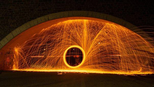 Light Painting, Night, Steel Wool, Circle, Brown Circle