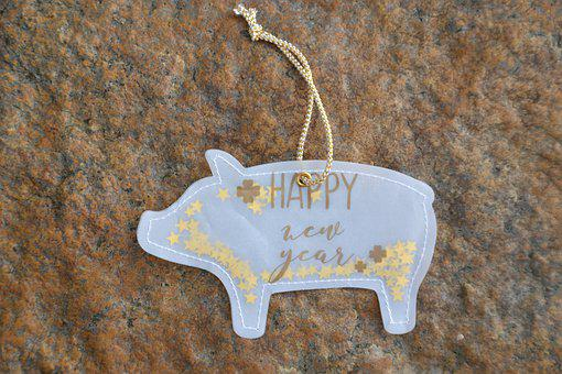 New Year's Day, Congratulations, Lucky Pig, Pig, Gold