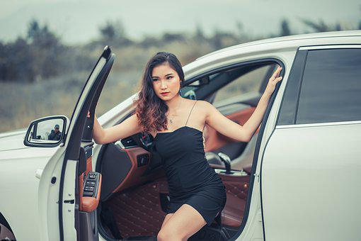 Girl, Car, Fashion, Woman, Female, Bus, Road, Model