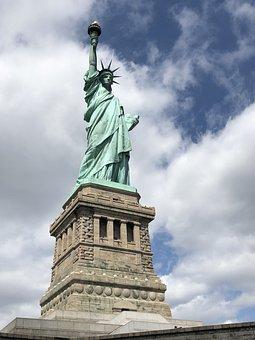 New York, Statue Of Liberty, Usa, America, Monument