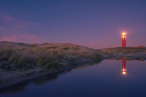 Texel, Night, Netherlands, Island, Light, Evening, Red