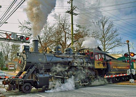 Christmas, Locomotive, Train, Railway, New Hope