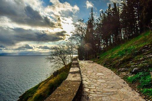 Ohrid, North Makedonia, Path, Landscape, Lake Ohrid