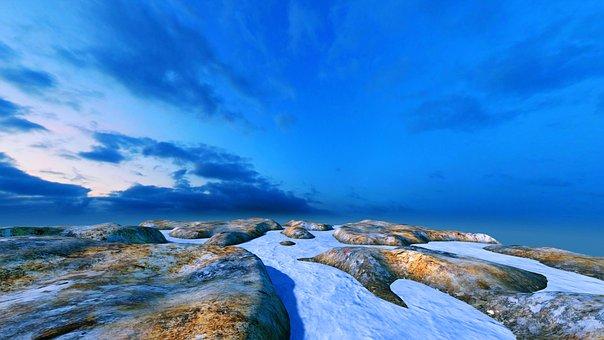 Landscape, Sea, Ice, Earth Hour, Peaceful, Scene
