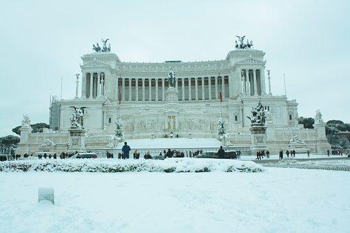 Rome, Italy, Snow, Wedding Cake, Piazza Venezia