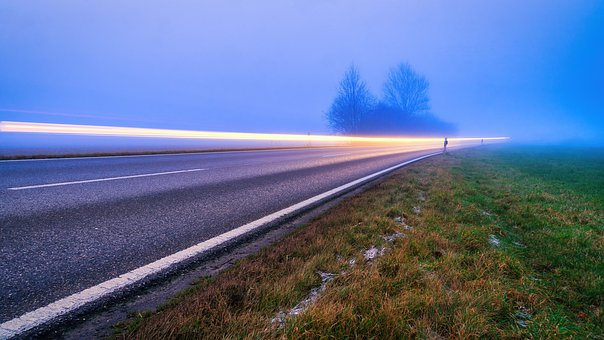 Road, Evening, Fog, Glow, Long Time Exposure, Away