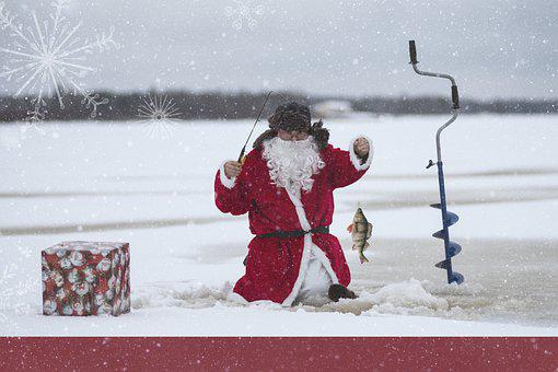 Santa Claus, Fishing, Ice Fishing