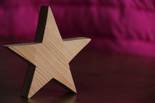 Wood Star, Star, Pink, Christmas, Christmas Decorations