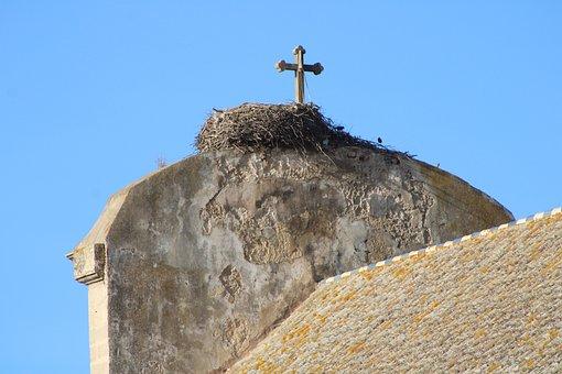 The Port Of Santa Maria, Church, Convent, Nest, Storks