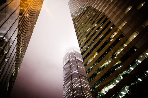 City, Skyscrapers, Fog, Building, Business, Urban