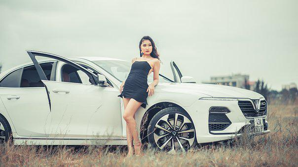 Girl, Car, Fashion, Woman, Female, Bus, Road, Model