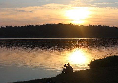 Summer Evening, Summer, Lake, Water, Abendstimmung