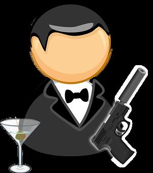 James Bond, Agent, Black Suit, Bow Tie