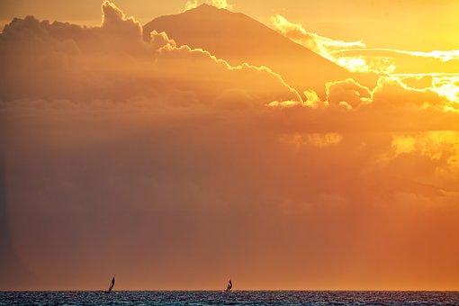 Landscape, Sea, Volcano, Agun Mountain, Sunset