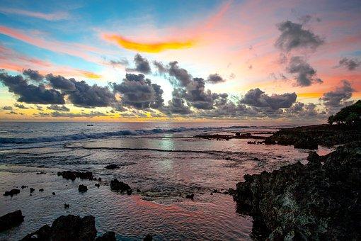 Landscape, Coast, At Dusk, Boat, Cloud, Sawarna Coast