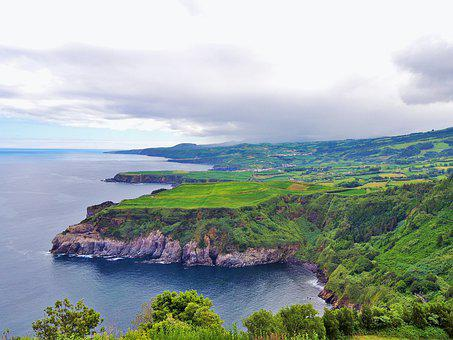 Azores, View, Ocean, Nature, Landscape, Green, Portugal