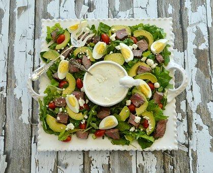 Salad, Food, Steak, Eggs, Avocado, Blue Cheese