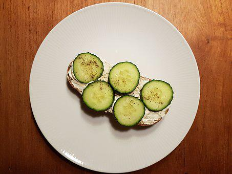 Bread, Healthy, Cucumber, Cream Cheese, Abendbrot, Meal