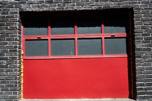 Door, Metal, Wall, Red, Brick, Old, Introduction
