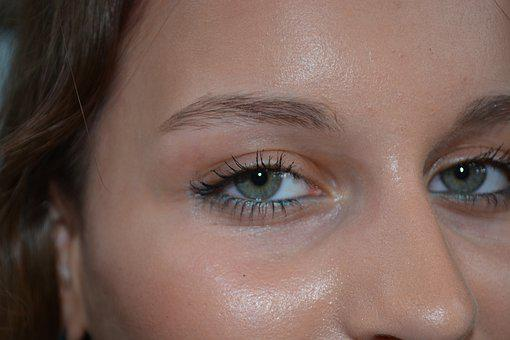 Woman, Eyes, Face, Shine, Melted, Makeup, Close Up