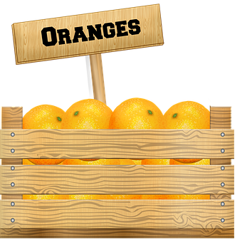 Crate Of Fruit, Oranges, Wooden Box, Farmer's Market