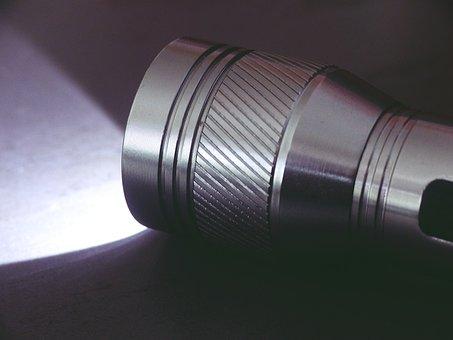 Flashlight, Light, Dark, Hand Lamp, Background, Glow