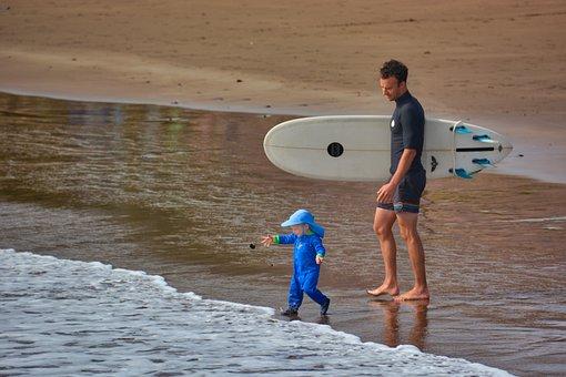 Child, Surf, Surfboard, Sea, Beach, Waves, Holiday