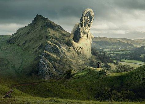 Fantasy, Landscape, Female, Statue, Sky, Mountains