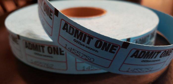 Tickets, Ticket Roll, Event, Show, Movies, Cinema