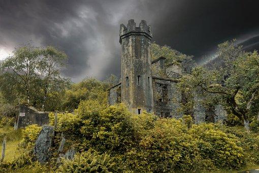 Castle, Gloomy, Mystical, Sky, Mysterious, Fortress
