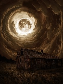 Night, Moon, Old House, Storm, Thunderstorm, Mystical