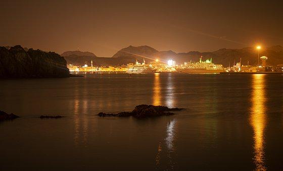 Night, Ship, Ocean, Water, Evening, Cruise, Landscape