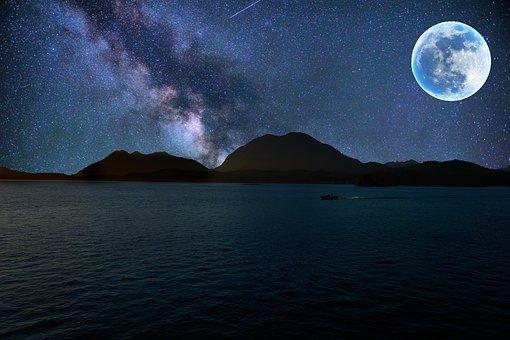 Galaxy, Night, Full Moon, Sea, Starry Sky, Universe